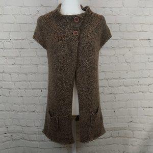 BCBG Maxazria Brown Knit Sweater Cape Cardigan